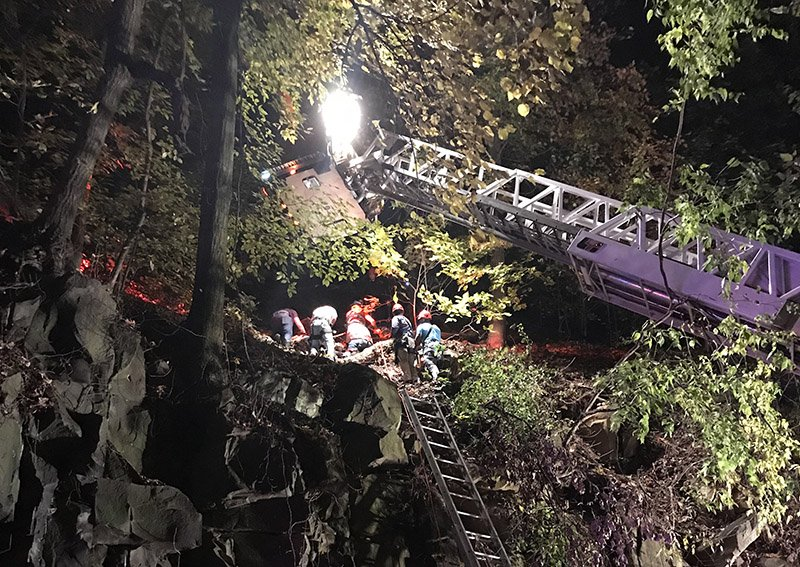 Rescue of Man Falling From Cliff